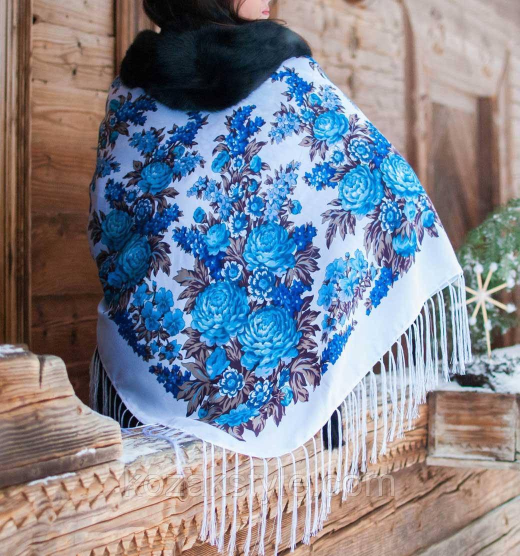 Хустка Квіти (120х120) біло-блакитна