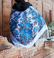 """Хустка """"Квіти"""" (120х120) біло-блакитна"""