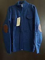 Кофта на змейке с налокотниками, 10-15 лет, джинсовый синий оттенок