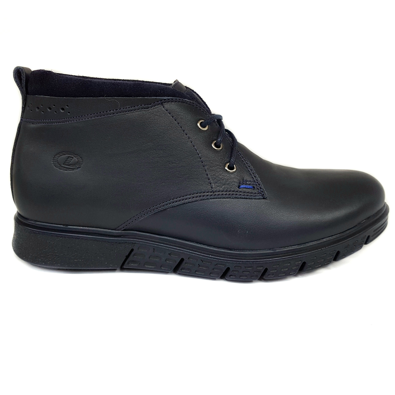 Зимние мужские кожаные ботинки Dan Shoes синие на меху B0023/23