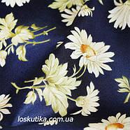 44014 Ромашка (синий фон). Ткань с изображением ромашек. Цветочный принт. Квилтинговые ткани США., фото 2