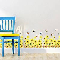 """Виниловая интерьерная наклейка на стену, мебель для дома и кафе """"Подсолнухи #2"""" (983453)"""