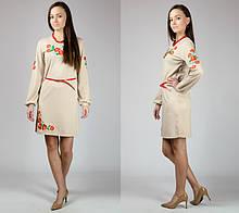 """Сукня-вишиванка """"Маки"""" з довгим рукавом (бежевий)"""