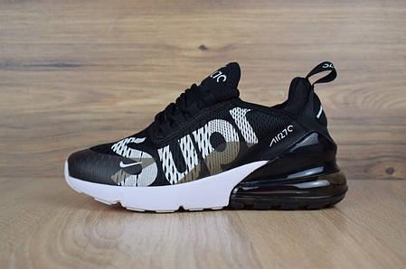 842c2882 Подростковые кроссовки Nike Air Max 270 Supreme черные с белым ТОП реплика,  фото 2