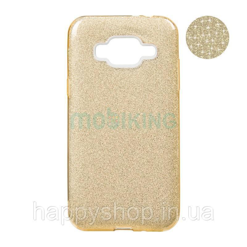Чехол-накладка Remax с блестками для Samsung Galaxy J1 2016 (J120) (Gold)