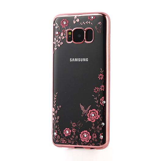 Прозрачный чехол с цветами и стразами для Samsung G955 Galaxy S8 Plus с глянцевым бампером