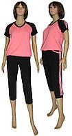 Костюм женский спортивный / футболка и бриджи 19018 Lampas Pink стрейч-коттон