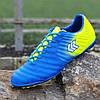 Футзалки, бампы, сороконожки кроссовки мужские лдя футбола синие желтые (код 6158)