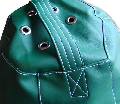 Зеленое кресло-мешок груша 120*90 см из кож зама Зевс, фото 2