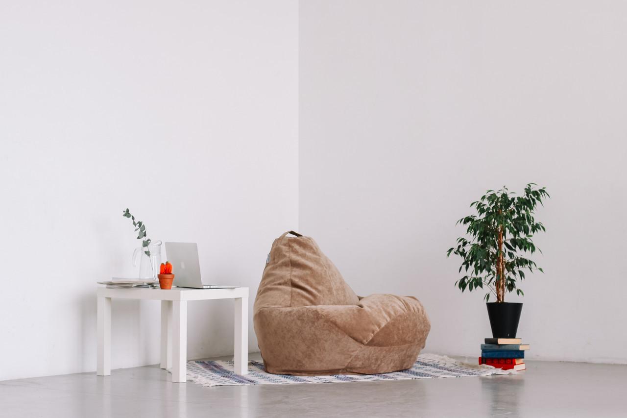Велюровое кресло-мешок груша бежевая 120*90 см