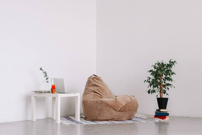 Велюровое кресло-мешок груша бежевая 120*90 см , фото 2