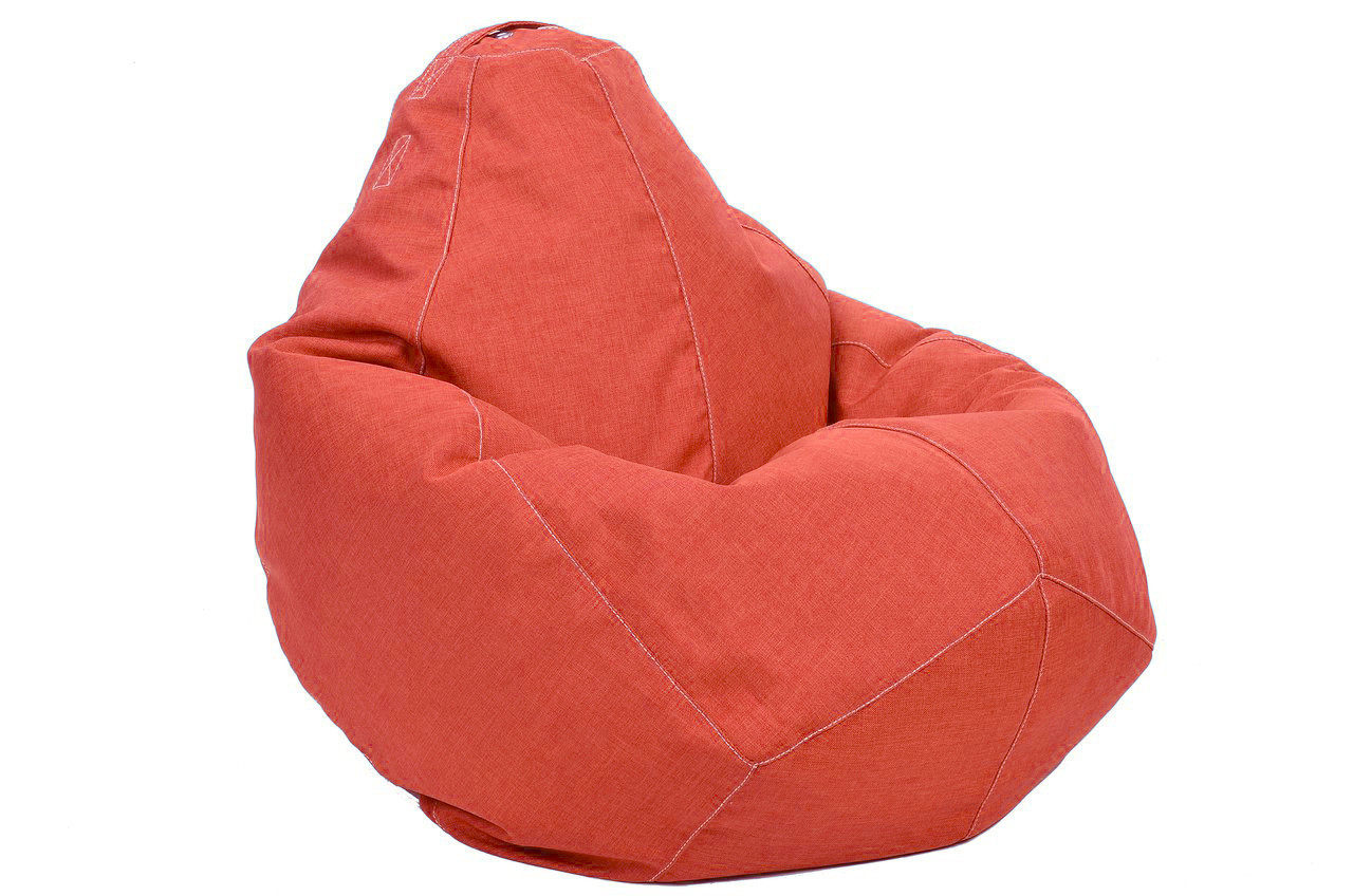 Бежевое кресло-мешок груша 100*75 см из микро-рогожки, кофе с молоком S-100*75 см, коралловый