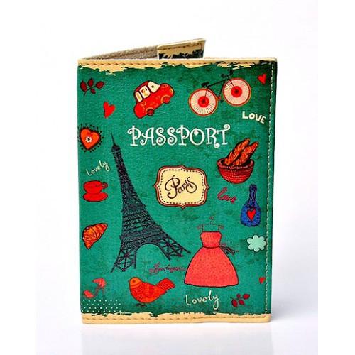 Стильная обложка для паспорта Lovely. Зеленый