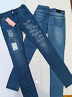 Джинсы для девочки 8-12 лет синего цвета оптом