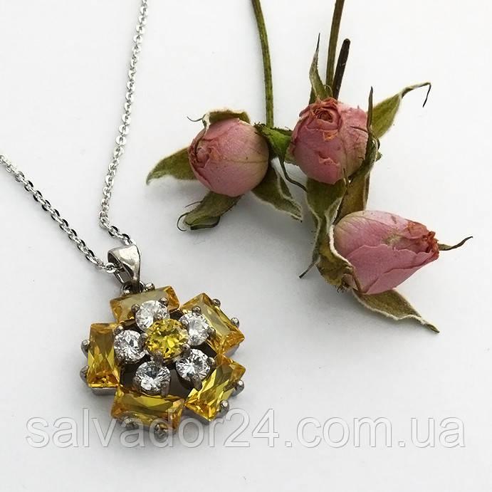 Женский кулон подвеска цветок на цепочке 45 + 5 см белая позолота с фианитами