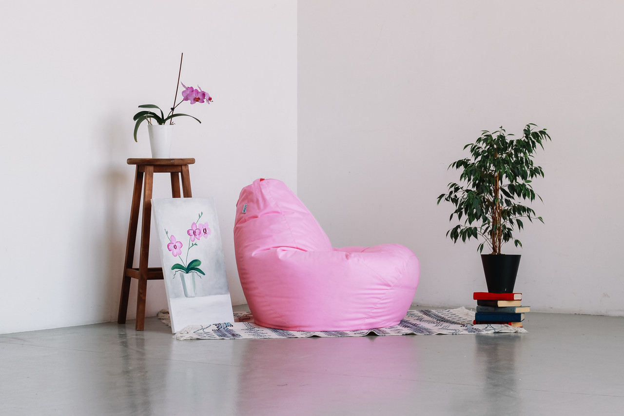 Розовое кресло-мешок груша 120*90 см из ткани Оксфорд