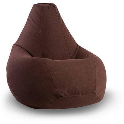 Коричневое кресло-мешок груша 120*90 см из микророгожки, фото 2
