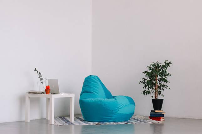 Голубое кресло-мешок груша 120*90 см из микровелюра Багира, фото 2