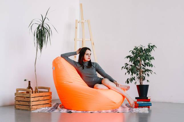 Оранжевое мега большое кресло-мешок груша 140*100 см из ткани Оксфорд, фото 2