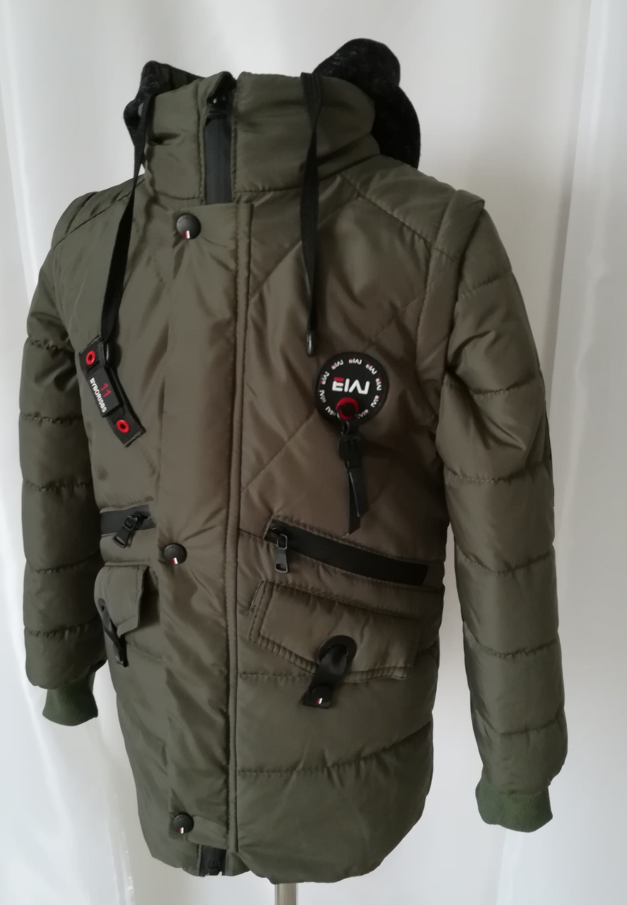 Демисезонная куртка-парка для мальчиков интернет магазин     32-42  хаки