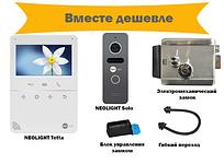 Комплект  видеодомофона Neolight Tetta с вызывной панелью Neolight Solo с электромеханическим замком