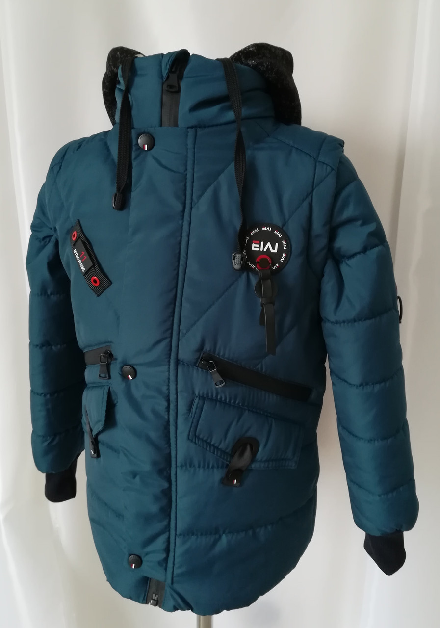 Осенняя куртка-парка для мальчиков     32-42  Волна