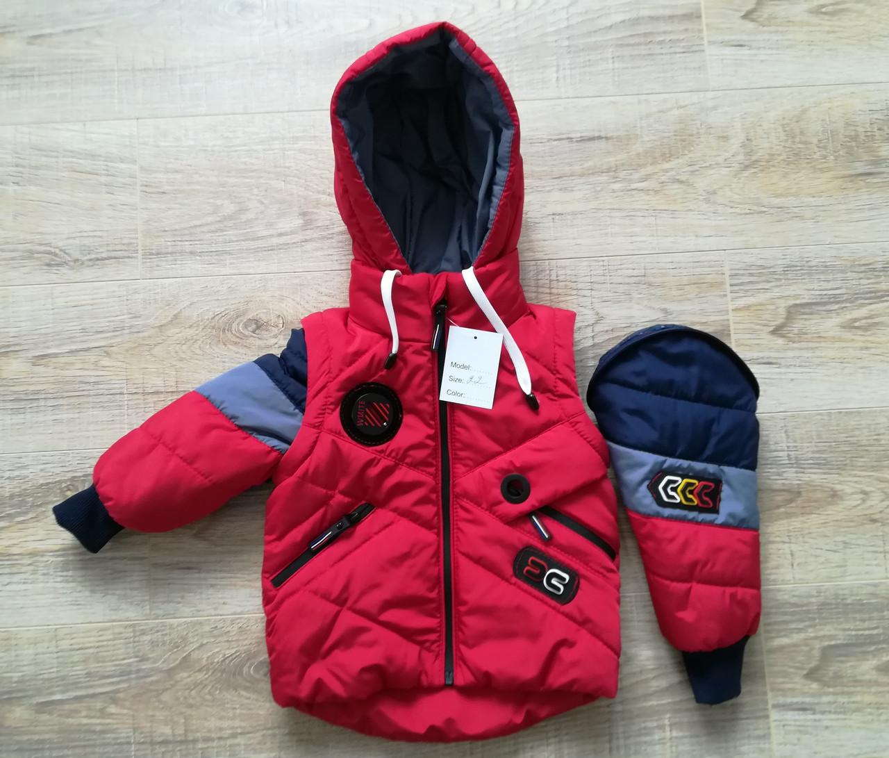 Детские осенние куртки   для мальчика  20-28 красный