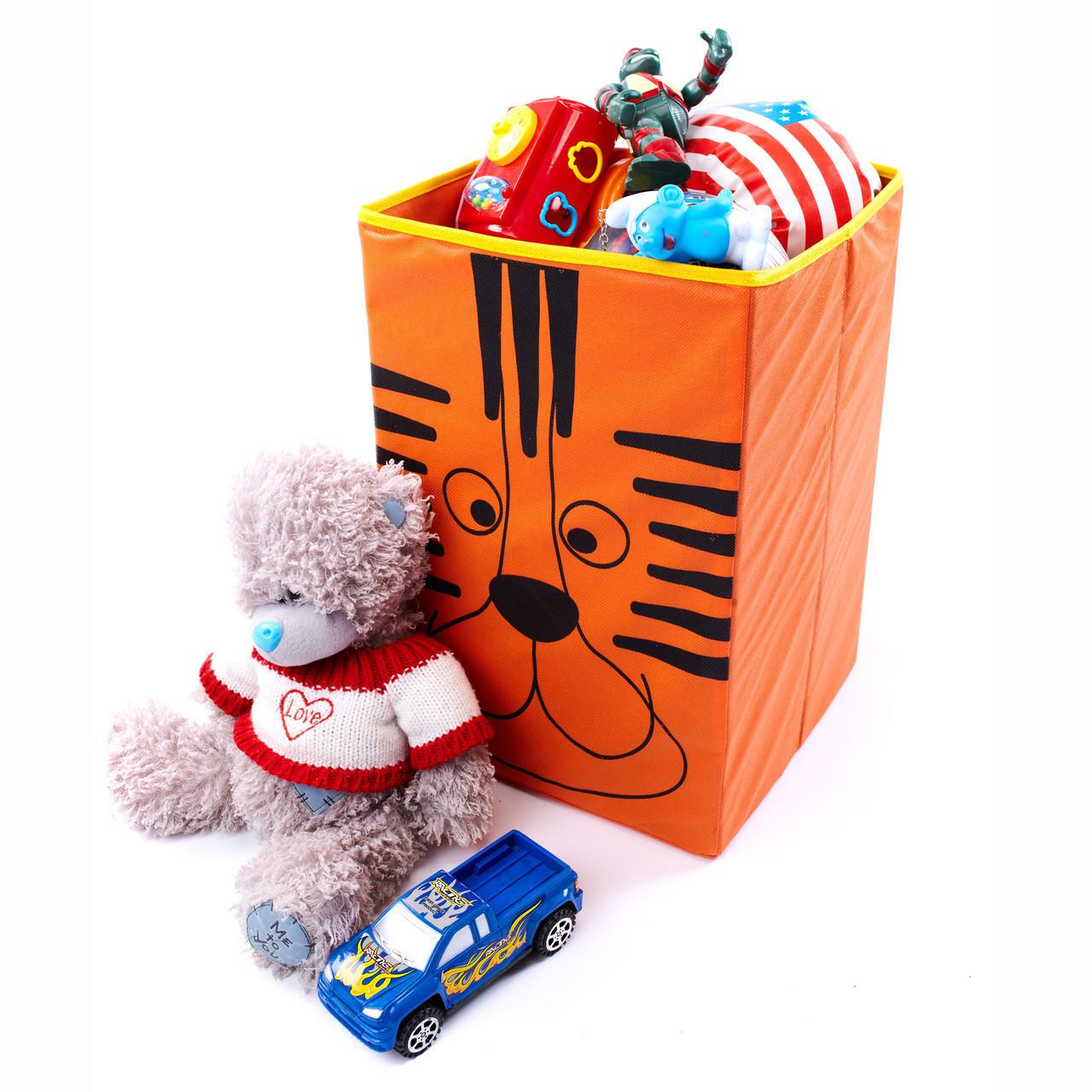Детский ящик для игрушек без крышки Тигр 35*35 см