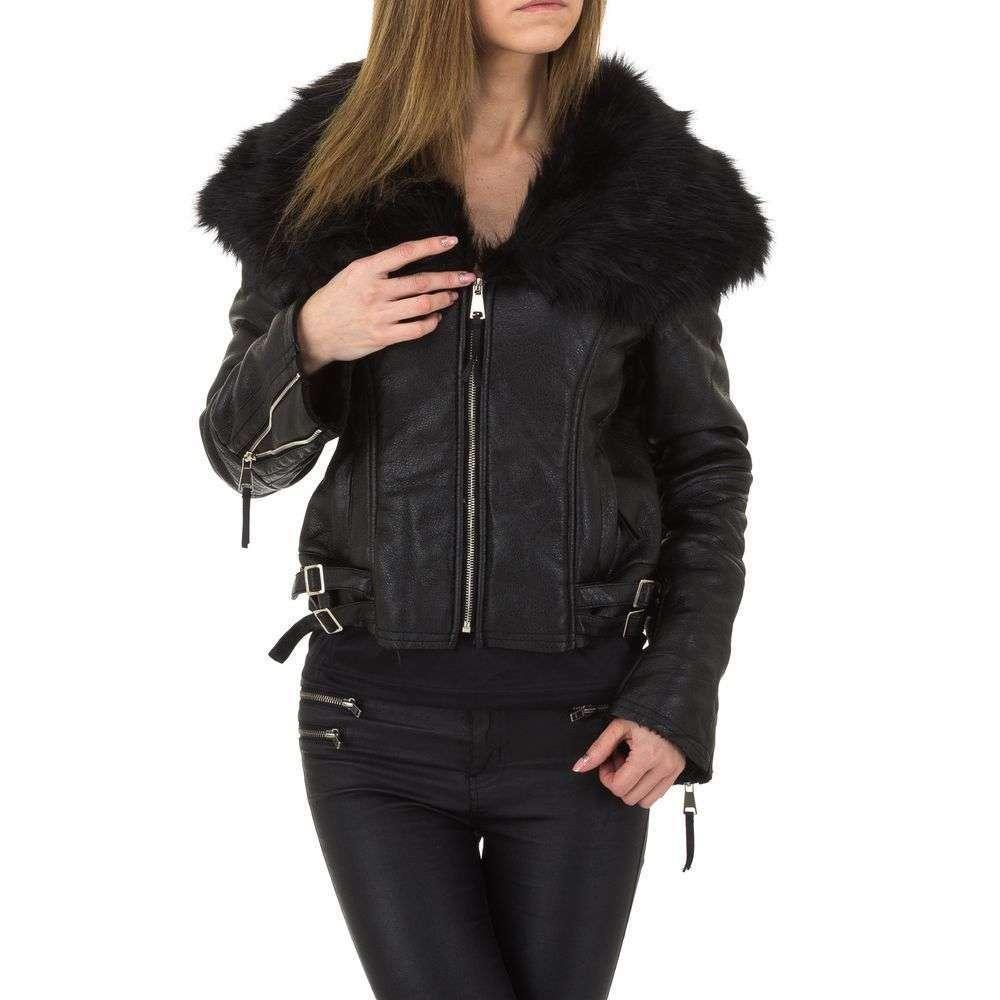 Женская куртка с меховым воротником от Voyelles (Италия), Черный