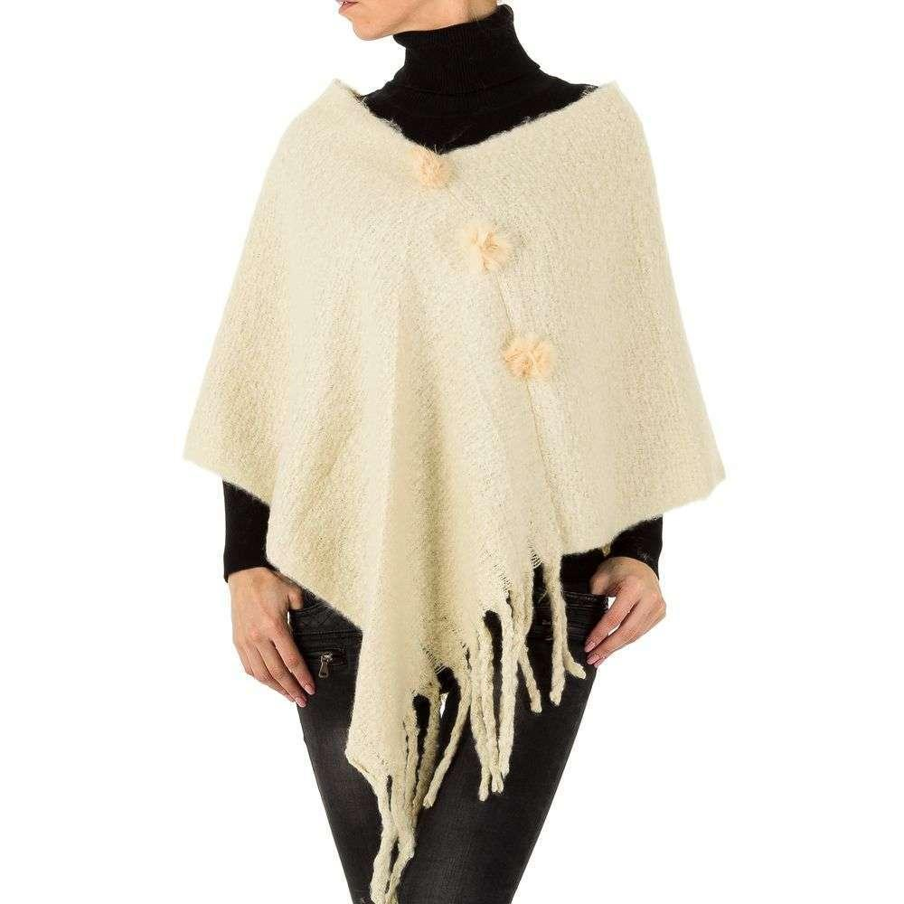 Женское пончо с бахромой от бренда Holala, размер One Size, Бежевый