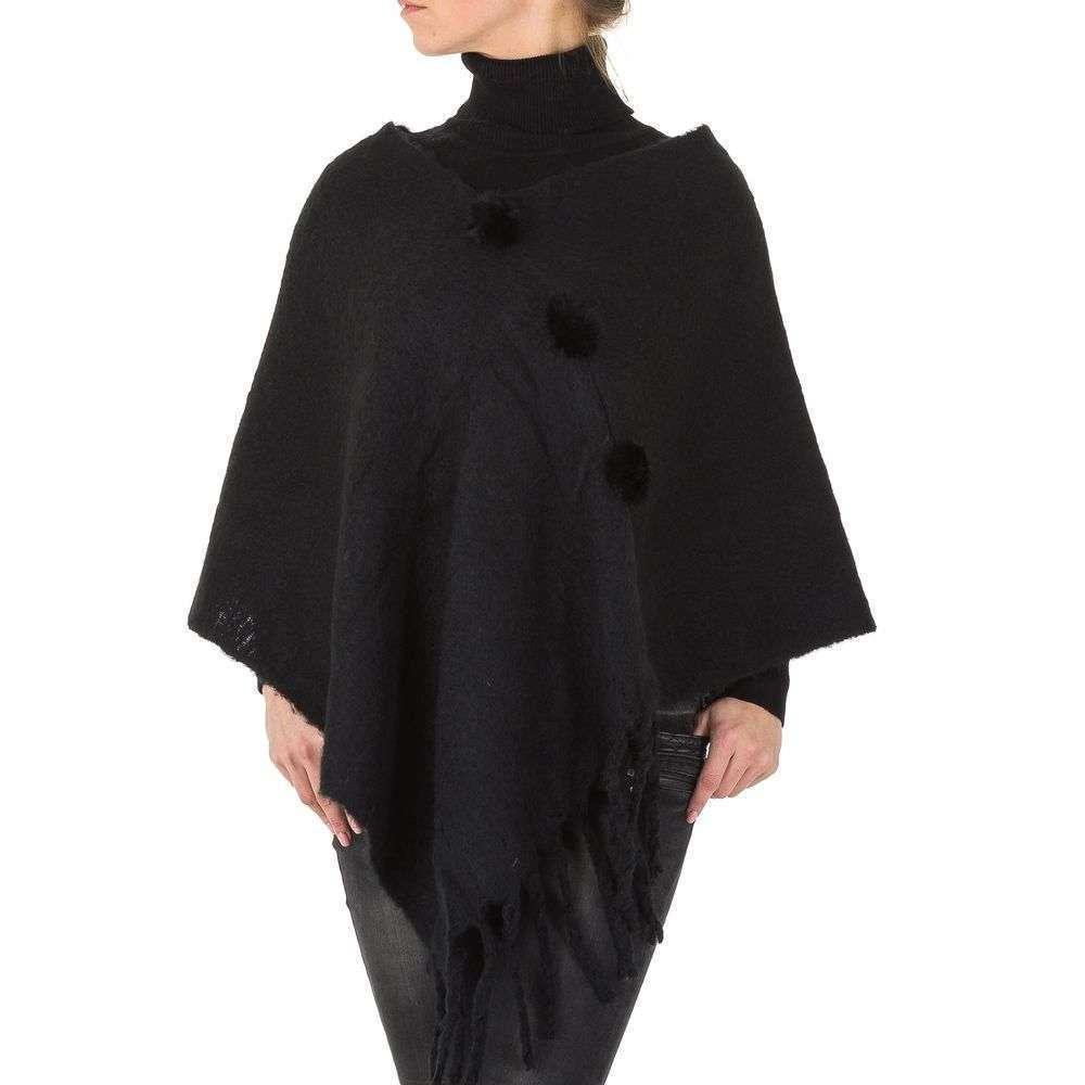 Женское пончо с бахромой от бренда Holala, размер One Size, Черный