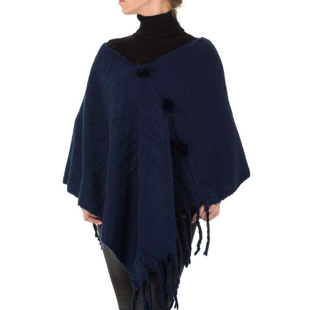 Женское пончо с бахромой от бренда Holala, размер One Size, Синий