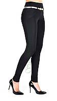Лосины женские, черный м/дайвинг, широкий пояс (норма), ремешок р.42-50