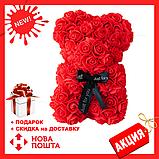 Гарний ведмедик з латексних 3D троянд 40 см з стрічкою в подарунковій коробці | Рожевий, фото 3