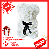 Гарний ведмедик з латексних 3D троянд 40 см з стрічкою в подарунковій коробці | Рожевий, фото 5