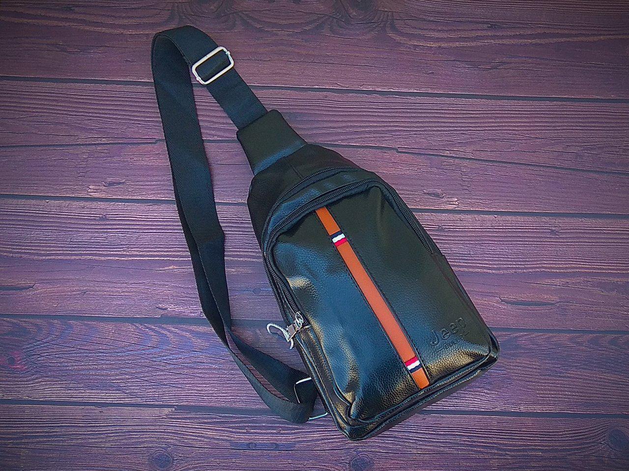 Сумка-рюкзак  Jeep на одно плечо, кобура, слинг. Черная