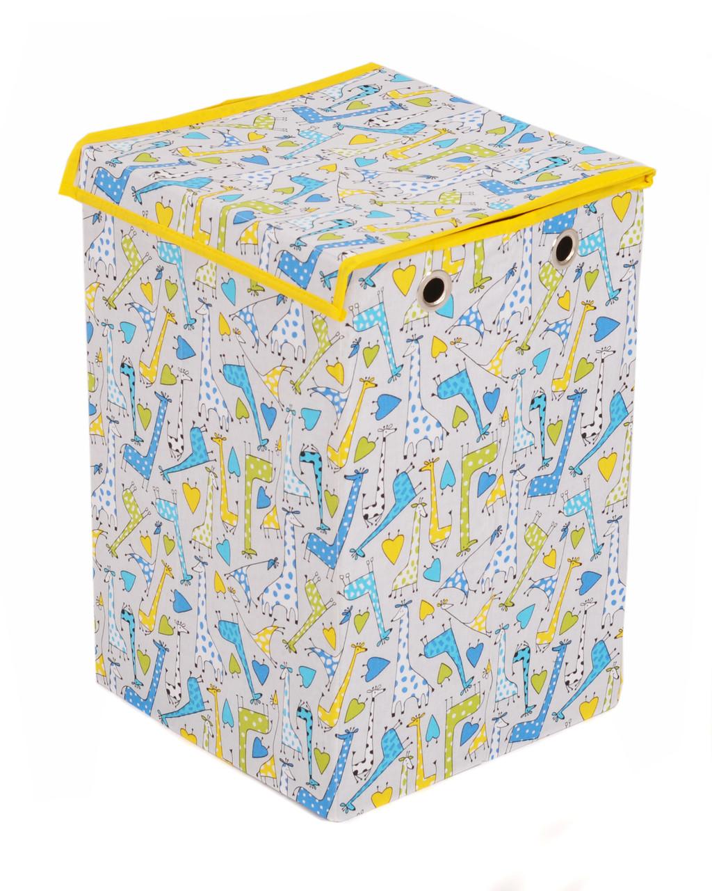 Ящик для хранения игрушек, 30 * 30 * 45 см, (хлопок), Жирафы (с крышкой)