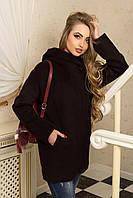 Красивое пальто женское с капюшоном темно-бордовый Р-21/9, фото 1