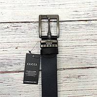 Стильный мужской ремень, пояс из натуральной кожи Gucci, гучи. Черный + Коробочка / RG 821