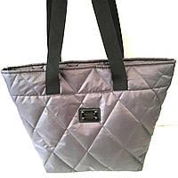 Стеганные сумки БОЛЬШИЕ кожаное дно (серый)33*48см