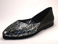 Балетки кожаные Женская обувь больших размеров Scarab V Silver Leo by Rosso Avangard BS цвет черный серебро