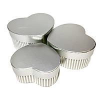 Подарочная коробочка в виде сердца 3 в 1 silver