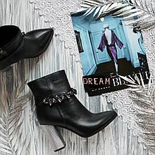 Женские кожаные ботинки с зауженным носком Возможен отшив в других цветах кожи и замши