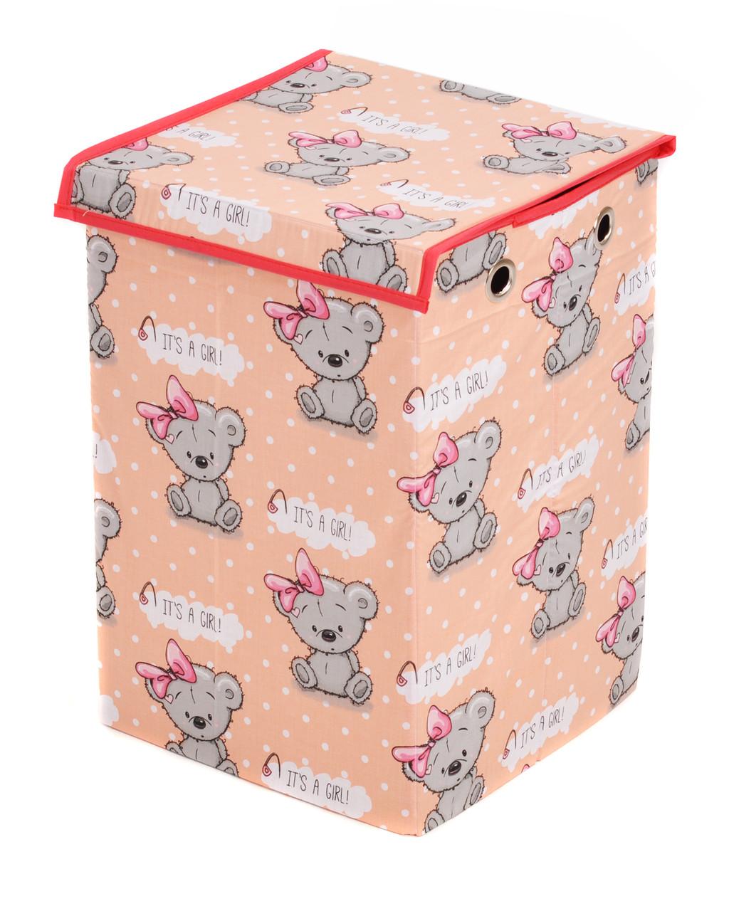 Ящик для зберігання іграшок, 30*30*45 см, (бавовна), Ведмедик дівчинка на оранжевому ( з кришкою )