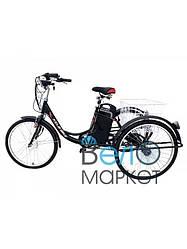 """Триколісний дорожній електровелосипед 26"""" колесо з багажником на сталевій рамі / електро велосипед"""