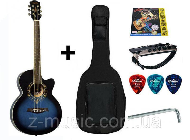 Гитара акустическая Equites (чехол, каподастр, медиатор, струна), синий