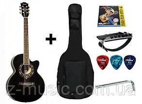 Гитара акустическая Equites BK (чехол, каподастр, медиатор, струна),черная