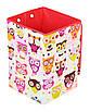 Ящик для зберігання іграшок, 30*30*45 см, (бавовна), Сови з рожевим ( з кришкою ), фото 2