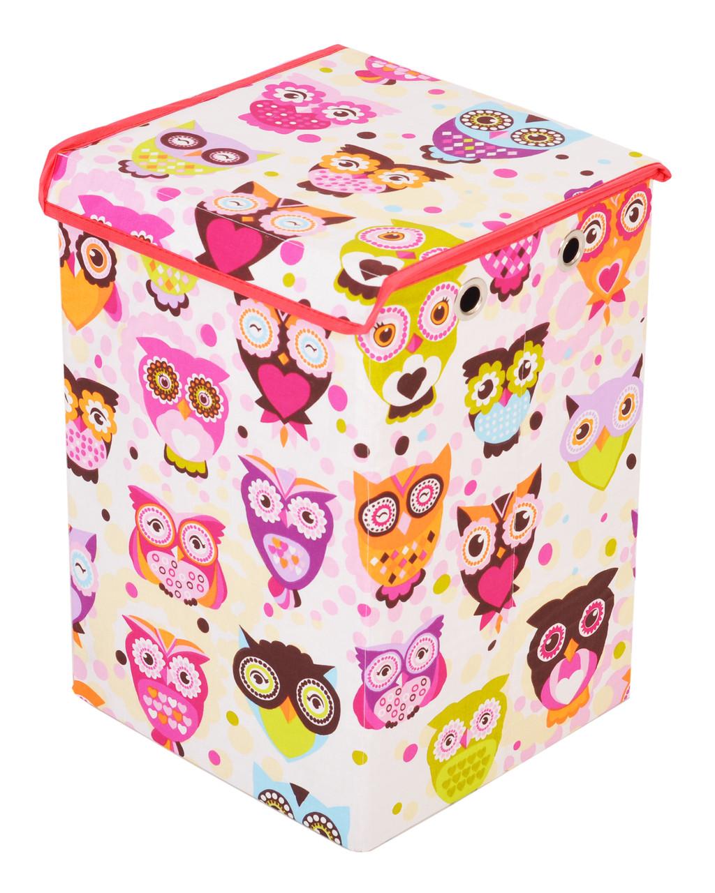 Ящик для зберігання іграшок, 30*30*45 см, (бавовна), Сови з рожевим ( з кришкою )