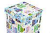 Ящик для зберігання іграшок, 30*30*45 см, (бавовна), Сови з синім ( з кришкою ), фото 2